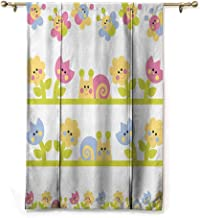 Bedroom Blackout Curtain,Curtain Tie Up Shade Kids Cartoon Character Bees Tulip and Daisy Flowers Snails Garden Pattern- W31 x L64 Baby Blue Light Green Yellow
