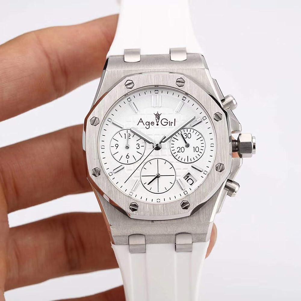 Plknvt orologio cronografo da donna in acciaio inossidabile luxury women cinturino in pelle 6917016553786