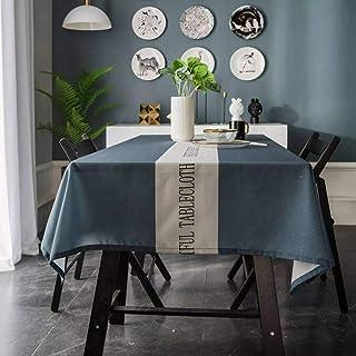 XUDOAI Mantel Antimanchas Diseño de Carta Rectangular Mantel, Transpirable, Aislamiento Térmico, Restaurante,Cocina, Cafetería, Mantel de Jardín (135 * 180cm, Blue)