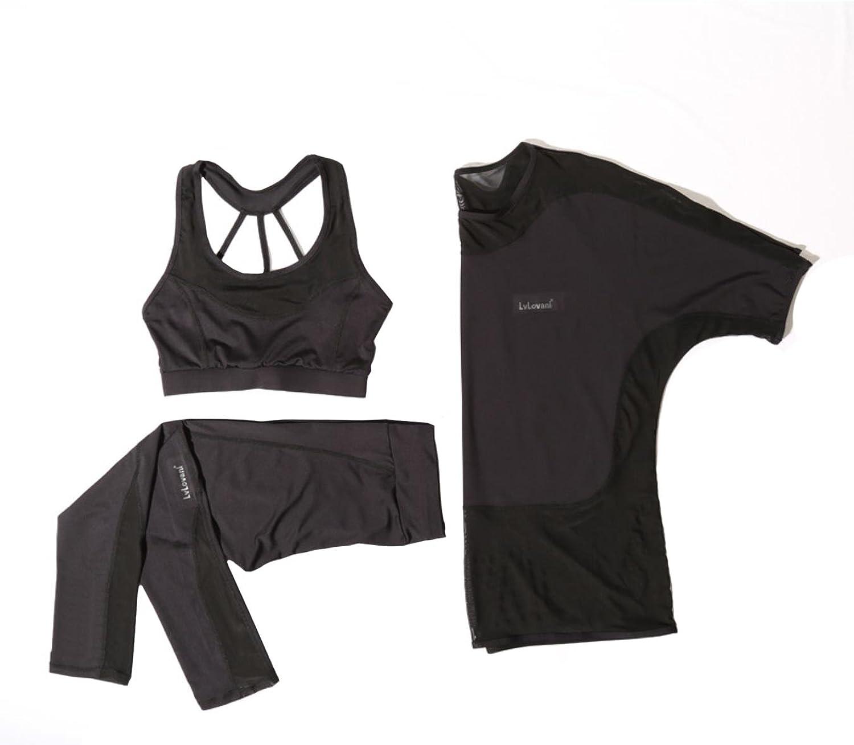 TUONFC Women Yoga Set Good Quality Sports Bras Mesh Shirt Pants Breathable Outdoor Sportswear