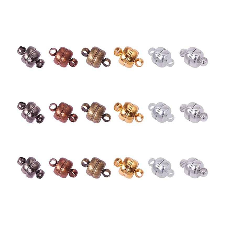 Pandahall 100 Sets 11x7mm Mixed Color Oval Brass Magnetic Clasps