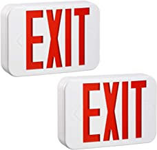 TORCHSTAR Red LED Exit Sign Emergency Light, Ceiling/Side/Back Mount, AC 120V/277V, Recharged Battery Included, Single/Double Face, UL-Listed, for Apartments, Hotels, Schools, Pack of 2