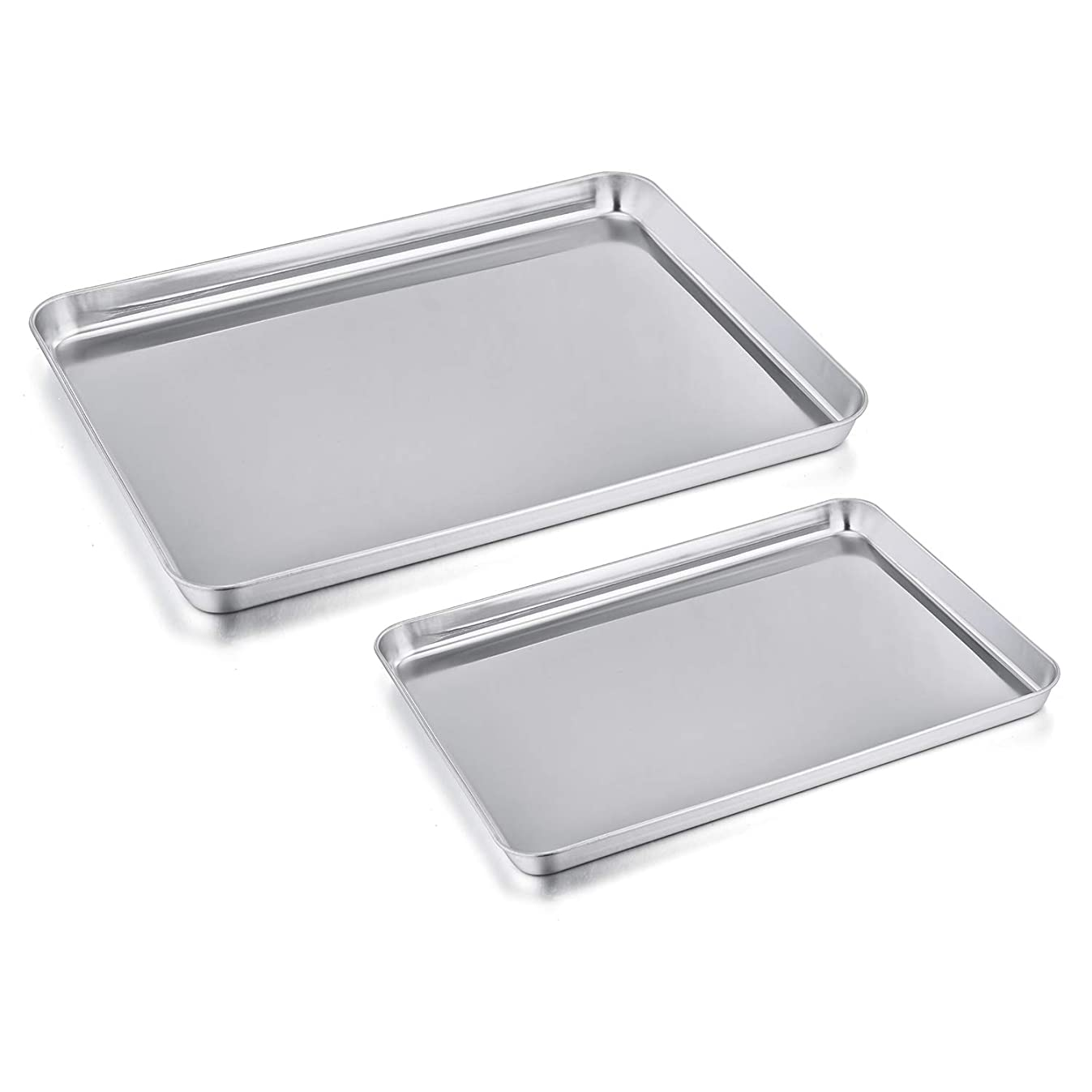 Toaster Oven Pan Tray Set of 2, P&P CHEF Stainless Steel Small Baking Sheets Pans, Rectangle Shape & Deep Rim, Non Toxic & Dishwasher Safe, 12.5 inch & 9 inch