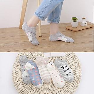 5 Pares De Calcetines Cortos para Mujer Cute Giraffe Cute Kawaii Cartoon Sweet Cotton Women Socks Star Character Casual Short Socks