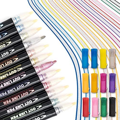 Outline Marker, Outline Stift, Outline Pen, 12 Farben, wasserfest, magischer Stift, Umrisssmarker