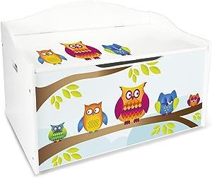 Leomark Groß Holz Kindertruhenbank XL Kinderbank Truhenbank Motiv: Eulen. Behälter für Spielzeug, Sitzbank mit Stauraum für Spielsachen
