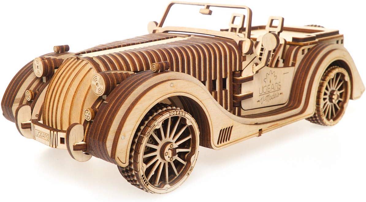 VM-02 with Rubber Band Motor Model Kit Roadster 3D Car Wood Art ...