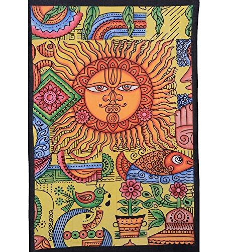 KUNST UND MAGIE Tagesdecke Wandbehang UV- Aktiv Sonne-Natur Tuch orange ca. 200 x 140 cm, Farbe:Mehrfarbig