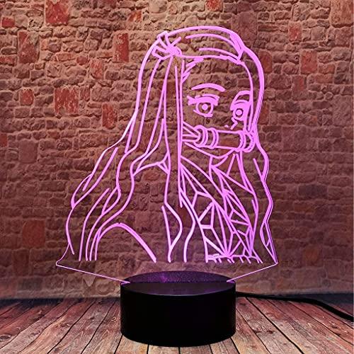 Luz de noche universal interior Kamado Nezuko 3D Illusion Demon Slayer Night Light DIRIGIÓ Lámpara de anime 16 colores Decoración de la sala de control remoto