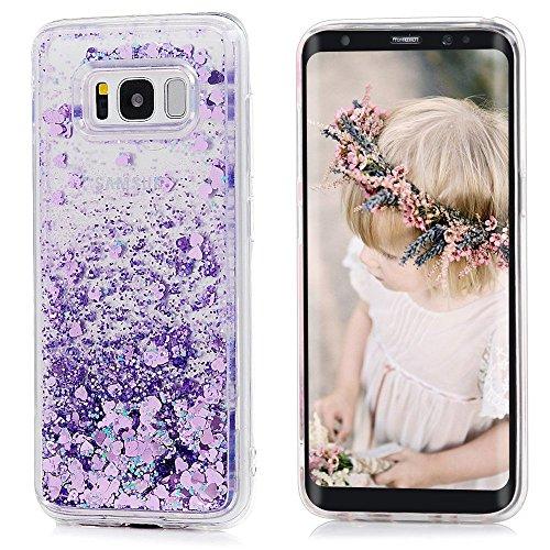 Coque Étui Galaxy S8, Irady Samsung Galaxy S8 Silicone TPU Housse de Protection 3D Creative Design Fluide Liquide Flottant Eau Natation Case Glitter Flexible Anti-choc Etui Poudre Brillante Bling Sable Mouvant Case pour Galaxy S8 - Violet