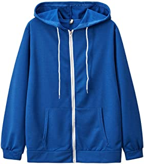 ZHAOJIE Women's Solid Color Long Sleeve Pocket Drawstring Hooded Zipper Sweatshirts Jacket Coat for Women