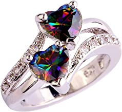 Dener For Women girl lady couple Fashion Lover Jewelry Heart Cut Rainbow & White Topaz Gemstone Silver Ring Wedding Elegant Ring Jewelry Accessories for Engagement