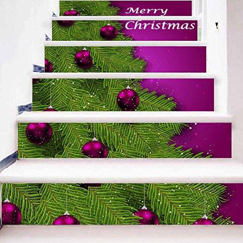 YYH 3D Creativo Buon Natale Lettera Inglese Arte Decalcomanie da Muro Autoadesiva DIY Adesivi Scala Scale del Corridoio Decorativo Sfere Viola Foglie Verdi Impermeabile HD Murale Impostato