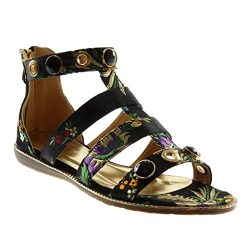 62bbc9b613e1 Angkorly Women s Fashion Shoes Sandals - Ankle Strap - Gladiator - Jewelry  - Flowers - Embroidered