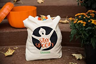 Personalized Trick or Treat Candy Bags, Halloween Bags for Kids (Halloween Tote - Graham Design)