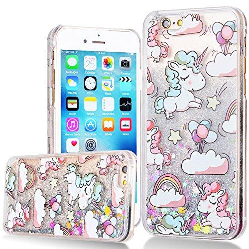 WE LOVE CASE iPhone 6 Plus Hülle Einhorn Glitzer Flüssig Liquid Hardcase Klar Treibsand Bling...