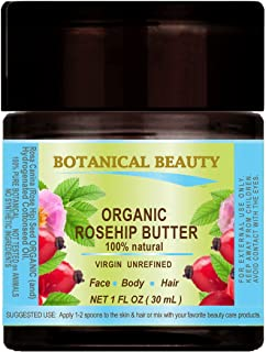 ROSEHIP SEED OIL - BUTTER ORGANIC 100 % Natural / VIRGIN / UNREFINED / RAW / 100 PURE BOTANICAL. 1 Fl.oz.- 30 ml. For Skin, Hair and Nail Care.