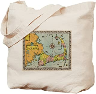 CafePress Vintage Map Of Cape Cod Natural Canvas Tote Bag, Reusable Shopping Bag