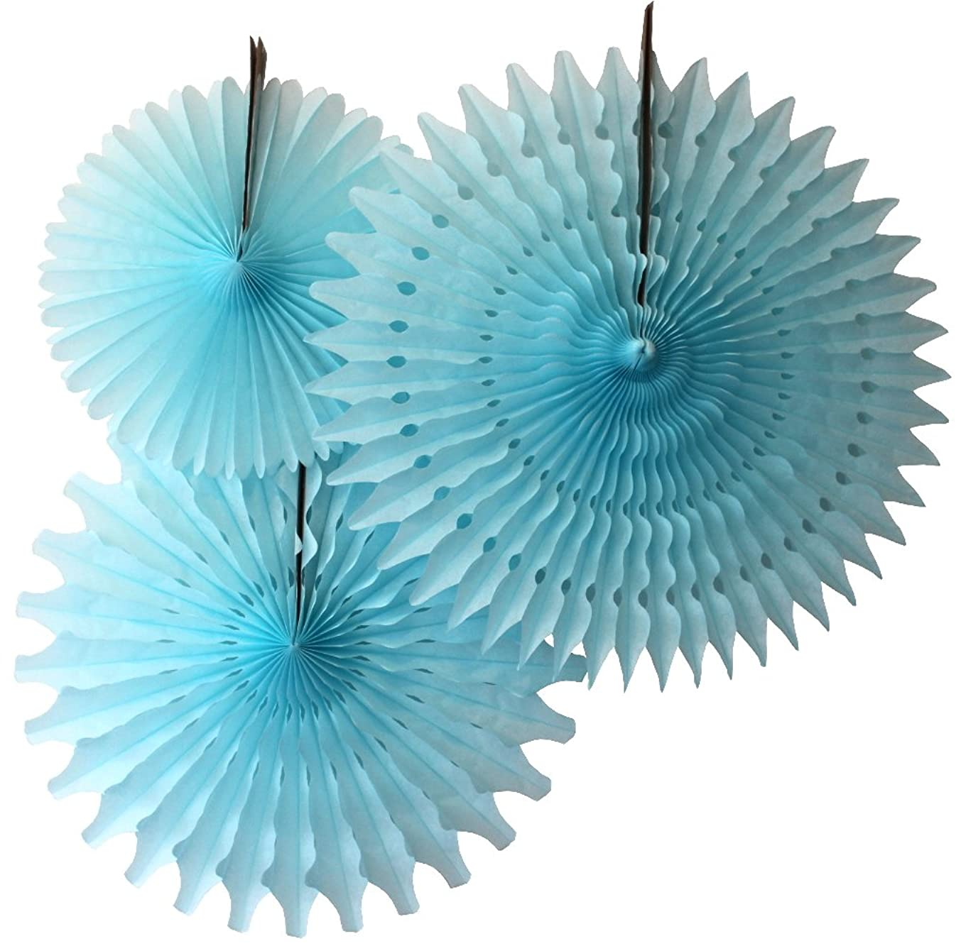 Hanging Honeycomb Tissue Fan, Light Blue, Set of 3 (13 inch, 18 inch, 21 inch)
