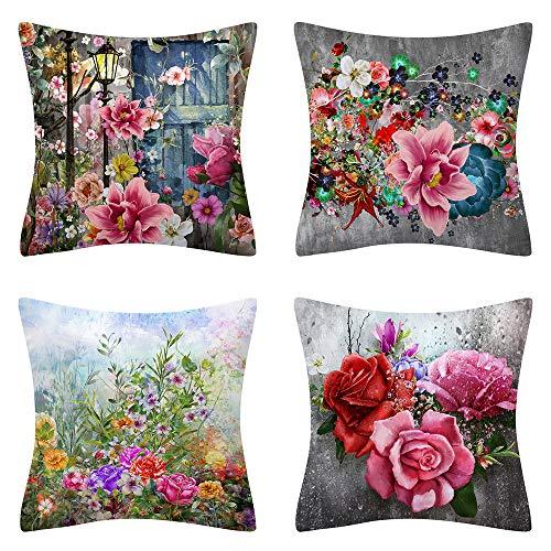 AMZQJD 4 federe per cuscino per la primavera e la camera da letto, decorazione per la casa, in cotone e lino (primavera 08, 40 x 40 cm)