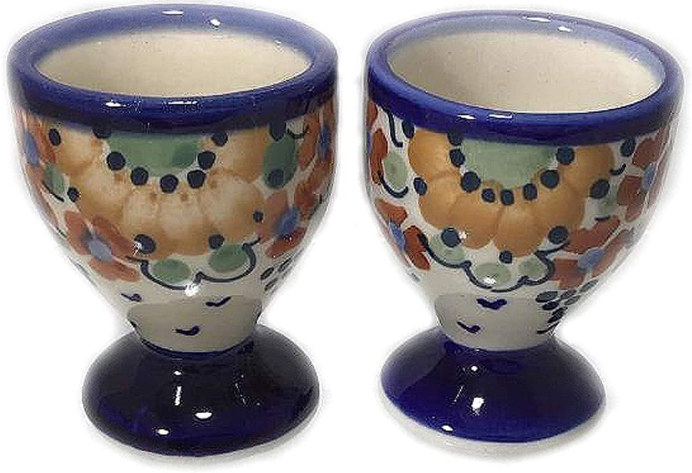 Set of 2 Polish Pottery Egg Cups Denver Mall Signature Max 67% OFF Pattern LB Avery S in