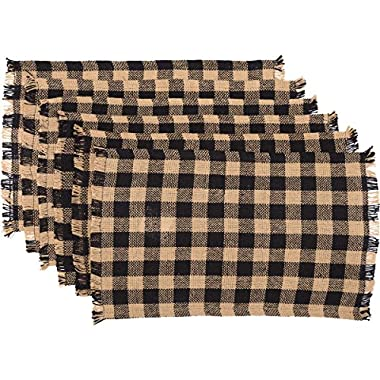 VHC Brands Classic Country Primitive Tabletop & Kitchen - Burlap Black Check Black Fringed Placemat Set of 6