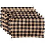 VHC Brands Classic Country Primitive Tabletop & Kitchen-Burlap Check Fringed Placemat Set of 6, 12' x 18', Ebony Black