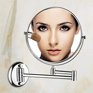 Vanity Mirror Wall Mounted Bathroom Mirrors Makeup Shaving Magnifying Round Mirror 3X 8 Inch Two Sided, 360° Rotatable, Extendable Arm for Bedroom