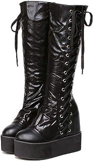 Womens Bootsウェッジヒール付きノンリップナイトブーツハンサムレースアップニーブーツ秋冬用ウォームアウトブーツ