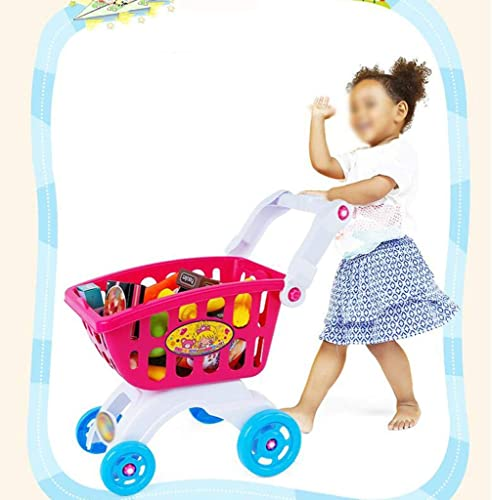 LLRDIAN Simulator-Supermarkt-Einkaufswagen-Laufkatzen-Spielzeugsatz der Spielhaus der Kinder (Farbe   Rosa)