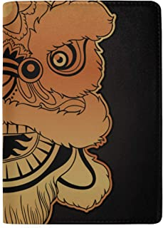 Chinese Lion Head Dance Blocking Print Passport Holder Cover Case Travel Luggage Passport Wallet Card Holder Made with Leather for Men Women Kids Family