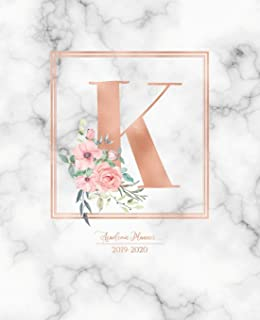 Academic Planner 2019-2020: Rose Gold Monogram Letter K with Pink Flowers over Marble Academic Planner July 2019 - June 2020 for Students, Moms and Teachers (School and College)