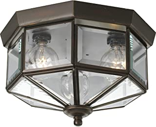Progress Lighting P5789-20 Octagonal Close-to-Ceiling Fixture with Clear Bound Beveled Glass, Antique Bronze