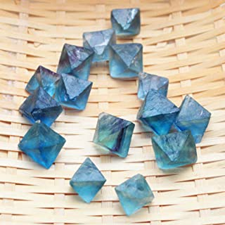 HS store Natural Clear Blue Green Fluorite Crystal Point Octahedron Rough Specimens