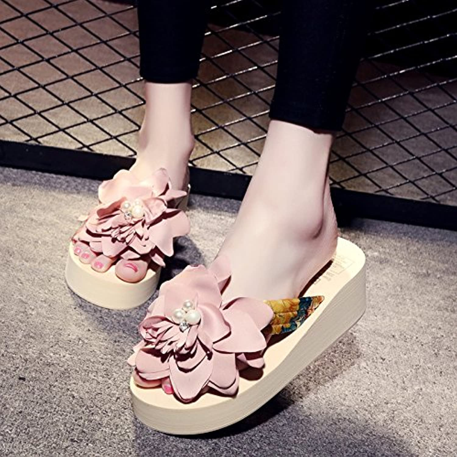 Ladies' cool slippers, women's summer slopes, thick soles, flip flops, folk winds, flowers, beach shoes