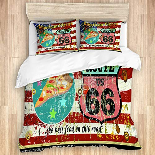 YZBEDSET 3 Pieces Duvet Cover Set,american route 66 highway road pizza,Printed Bedding Duvet Cover with Zipper Closure Soft Microfiber Quilt Cover King Size-230 * 220cm
