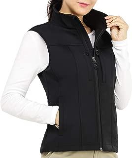 MIER Women's Water Resistant Bonded Softshell Vest Front Zip Fleece Lined Outdoor Active Vest with 9 Pockets, Black