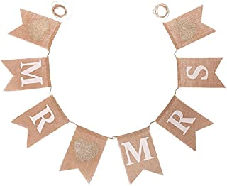 Koker MR and MRS Burlap Bunting Banners Garland - Vintage Rustic Wedding Table Hanging Signs for Bridal Shower, Wedding Photo Booth Props Backdrop Decoration, 8pcs Flags