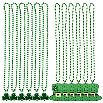 12 Pack St Patrick's Day Accessories Shamrock Clover Top Hat Green Bead Necklaces St Patrick's Day Decorations Party Favors Supplies