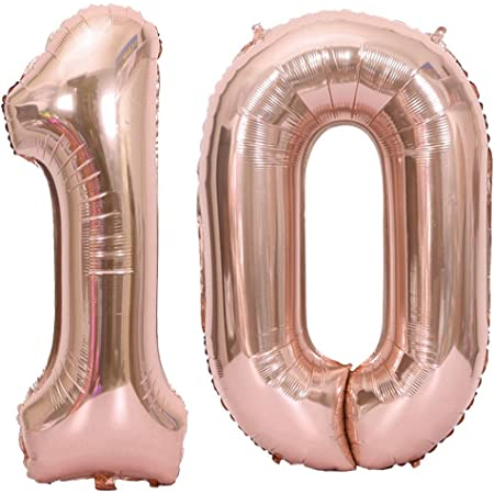 Glitz Rose Gold 34/'/' Foil Balloons Number Age 10//10th Birthday Foil Balloons