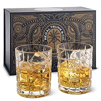 Elegant Whiskey Glass Set of 2 in a Spectacular Gift Box by Regal Trunk & Co 10 Oz Old Fashioned Lead Free Whiskey Glasses Set for Whisky Bourbon Scotch or Rum - Square Engraved Design Perfect Gift