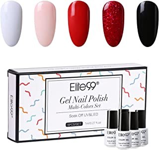 Elite99 Esmaltes Semipermanentes de Uñas en Gel UV LED, 5pcs Kit de Esmaltes de Uñas Soak Off para Manicura 7ML- 001