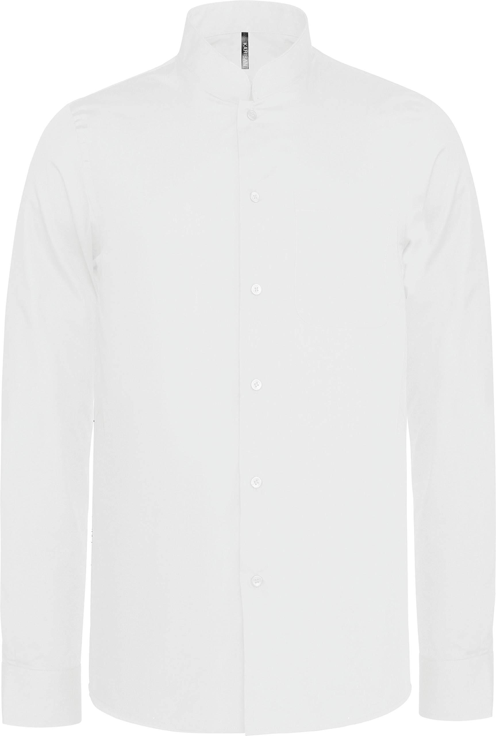 Camisa Cuello Mao Manga Larga Hombre - White, M, Hombre: Amazon.es: Deportes y aire libre
