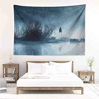 alisos Horror House,Wall Tapestry Mysterious Women in Foggy Forest Bushes Nightmare Haze Lady Scary Hell Work of Art 93W x 70L Inch Picnic Throw Rug Blanket Blue