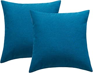 4TH Emotion Outdoor Waterproof Throw Pillow Covers Garden Cushion Case for Patio Couch Sofa Polyester Cotton Home Decoration Pack of 2, 16 X 16 Inches Dark Blue