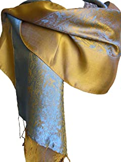 Silk Scarf with Contrasting Color-Blue and Gold