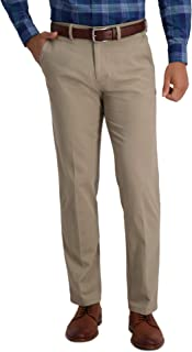 Haggar Men's Motion Khaki Straight Fit Active Flex Flat Front Pant