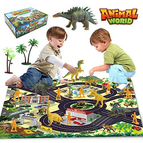yidenguk Dinosaurier Spielzeug 17ST Mini Dinosaurier Figuren Set Jurassic World Dinosaurier Spielzeug Pädagogisches Realistische Dinos Spielzeug mit Aktivität Spielmatte, Bäume,Minifiguren für Kinder