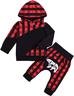 Toddler Baby Boy Clothes Red Plaid Pocket Hoodie + Cute Baby Bear Pants Winter Outfit Set for 0-24 Months