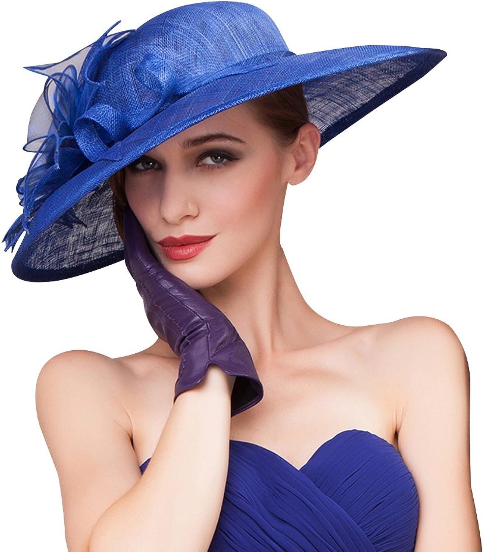 HomArt Women's Floral Wide Brim Sun Hat Beach Wedding Church Kentucky Derby Hat